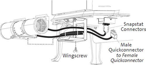 Attach Blower to the Mounting Bracket with the wingscrew and connect wires to Snapstat and female control