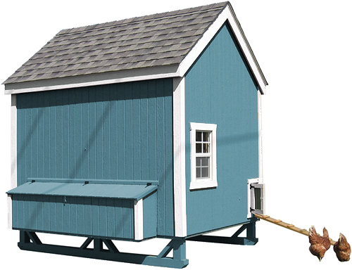 Teal Paint and White Trim on a Little Cottage Company Chicken Coop Kit
