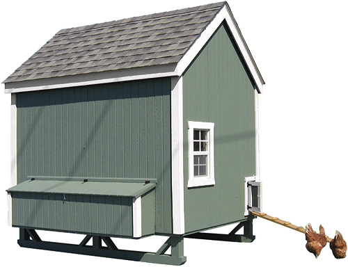 Green Paint and White Trim on a Little Cottage Company Chicken Coop Kit