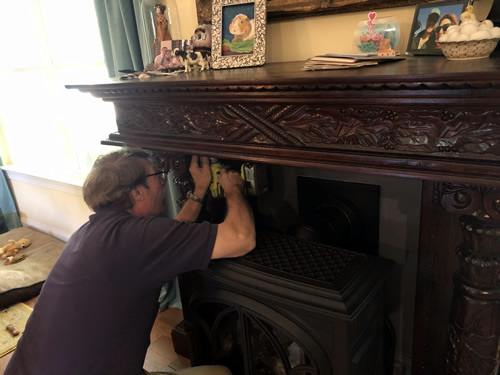 Cliff measured and pre-drilled the mantel