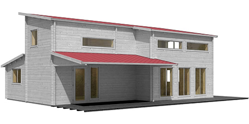 Eagle Point 1108 Square Foot Cabin Kit in Grey Stain with Red Roofing