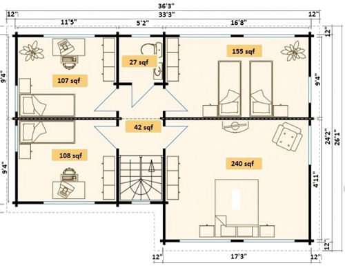 Allwood Eagle Vista Cabin Upstairs Floor Plan