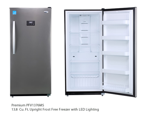 Premium PFV1376MS 13.8 Cu. Ft. Upright Frost Free Freezer with LED Lighting and Wheels