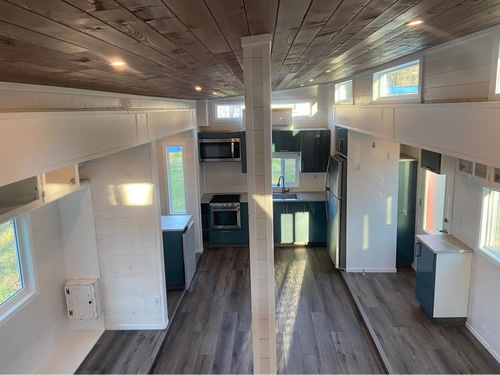 "The Aurora Cappuccino FKS Tiny Home is 26' long and 13'4"" high."