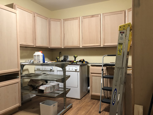 Almost all of the cabinets are up