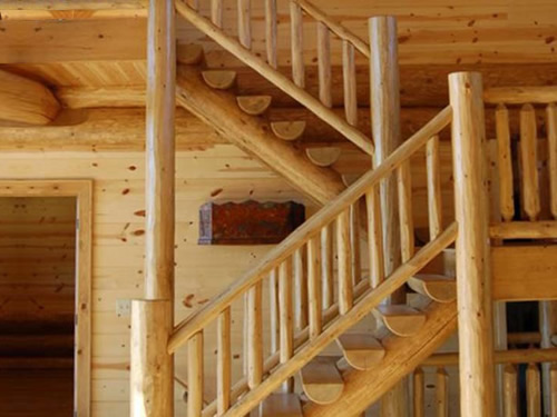 Log Stairs, Railing and Spindles from Log Cabins for Less