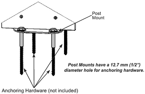 Post mounts are included You provide the anchoring hardware to secure your pavilion to concrete or wood