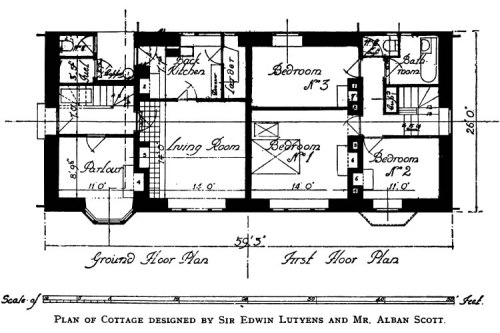 Plan of Cottage designed by Sir Edwin Lutyens and Mr. Alban Scott Cottage Building in Cob, Pisé, Chalk & Clay - A Renaissance by Clough Williams-Ellis