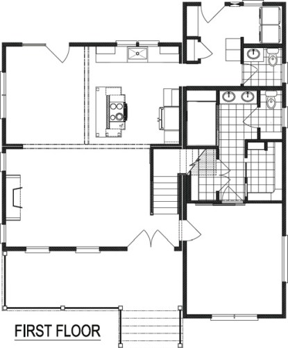 Nationwide Homestead Farmhouse I Downstairs Floor Plan Flipped