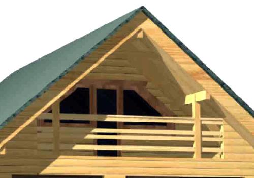 The BG-117 Two Car Log Garage Office has a small balcony.