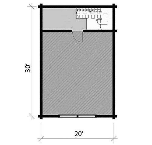LG-103 20' x 30' Two Car Log Garage with Studio Apartment