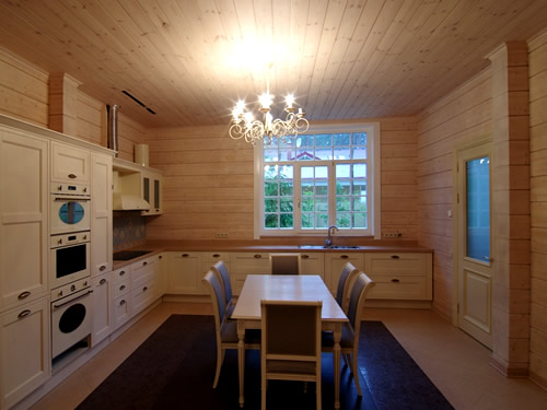 Kitchen in a log cabin by EcoHouseSmart