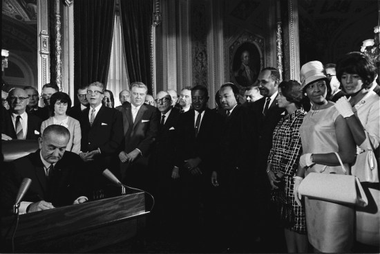 President Johnson signs the Voting Rights Act, August 6, 1965. This will be the first election cycle in over 50 years without the anti-discrimination protections of the VRA.
