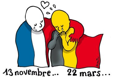 Solidarity cartoon Brussels attack