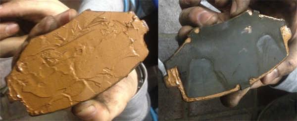 Bremsbeläge mit Kupferpaste