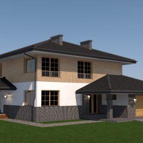 projekt nowoczesnej elewacji domu jednorodzinnego z biurem