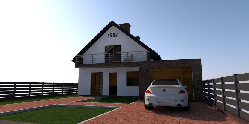 nowoczesna stodoła z cegłą na elewacji