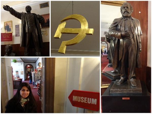 Dentre o acervo do museu, estátua de figuras como Lenin e Marx