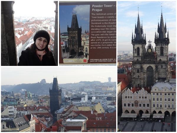 Vista do alto da torre do relógio, placa explicativa e, do lado direito,