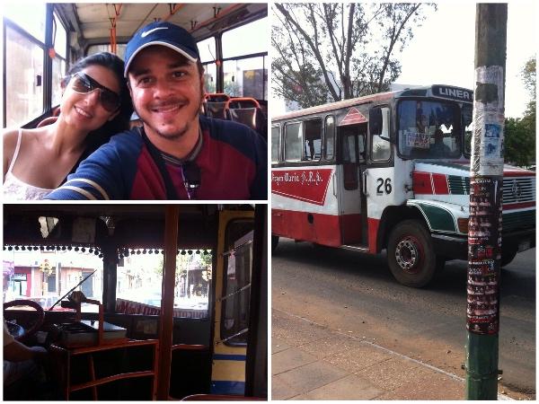 O ônibus colorido, nós dois sozinhos dentro de um voltando para o hotel e a caixa do motorista/cobrador, que recebe o dinheiro das passagens