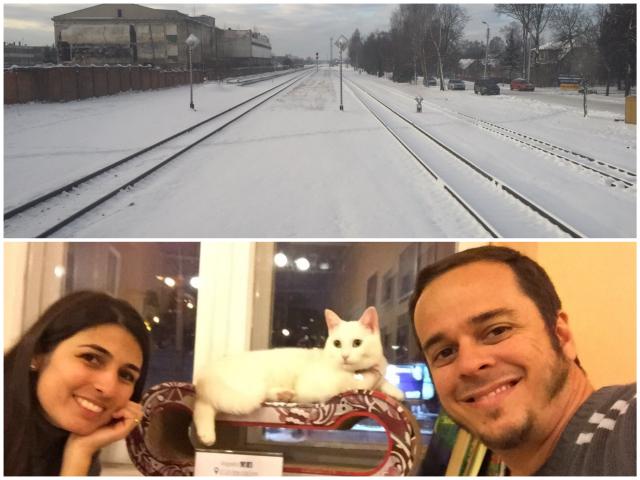 Muita neve na nossa chegada a Vilnius, capital da Lituânia e a nossa primeira parada na cidade, o Cat Café!