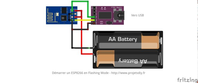 ESP-01 ESP8266 cablage wiring flashing mode_