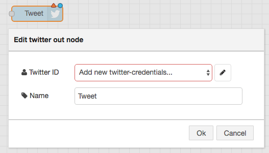 1 node-red twitter add credential