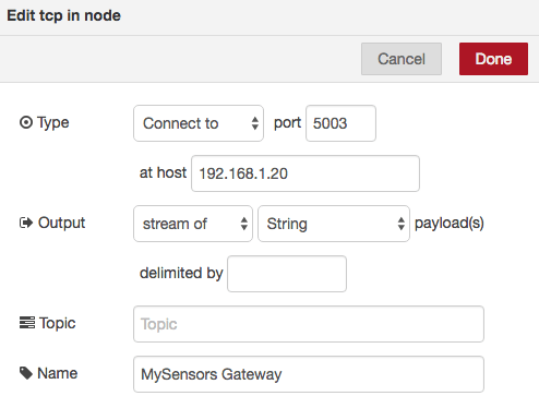node-red tcp mysensors lan gateway settings parametres