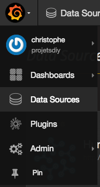 grafana menu data sources