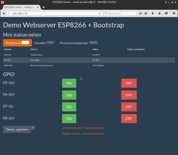demo webserver esp8266 theme bootstrapCDN superhero