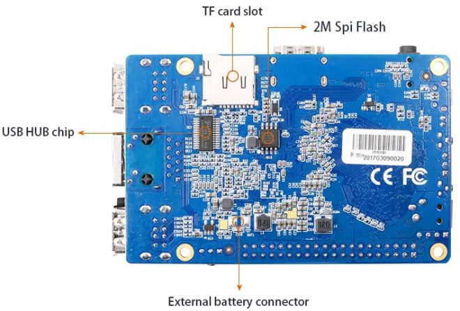orange pi win cortex a53 bluetooth bottom view