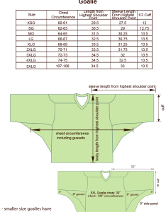 Box lacrosse goalie size chart image also charts for products projoy sportswears and apparel rh