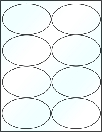 Oval 4 x 2 1/2 inch White Glossy Laser Labels 50 Sheets 4319GW