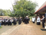 Knights entering chapel