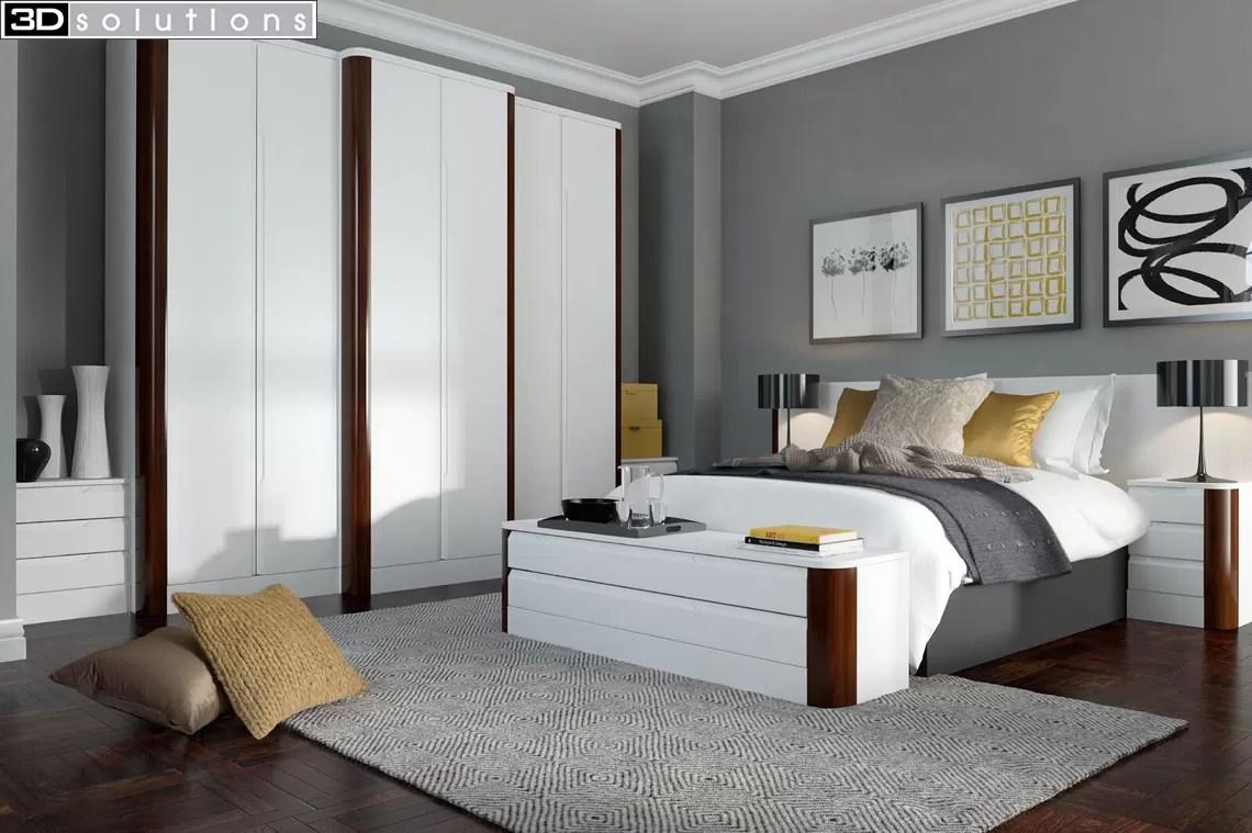 Trade Mouldings Aries White & Walnut Bedroom