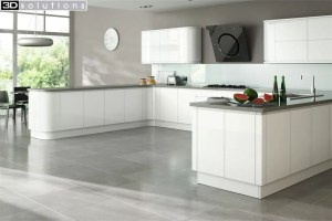 Trademouldings Larissa Handleless Gloss White Kitchen