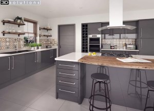 Trademouldings Lumi Grey Gloss Kitchen