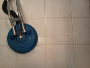 Tile cleaning in progress