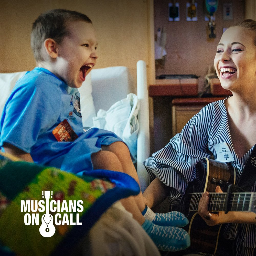 patient screaming with delight listening to Musicians on call