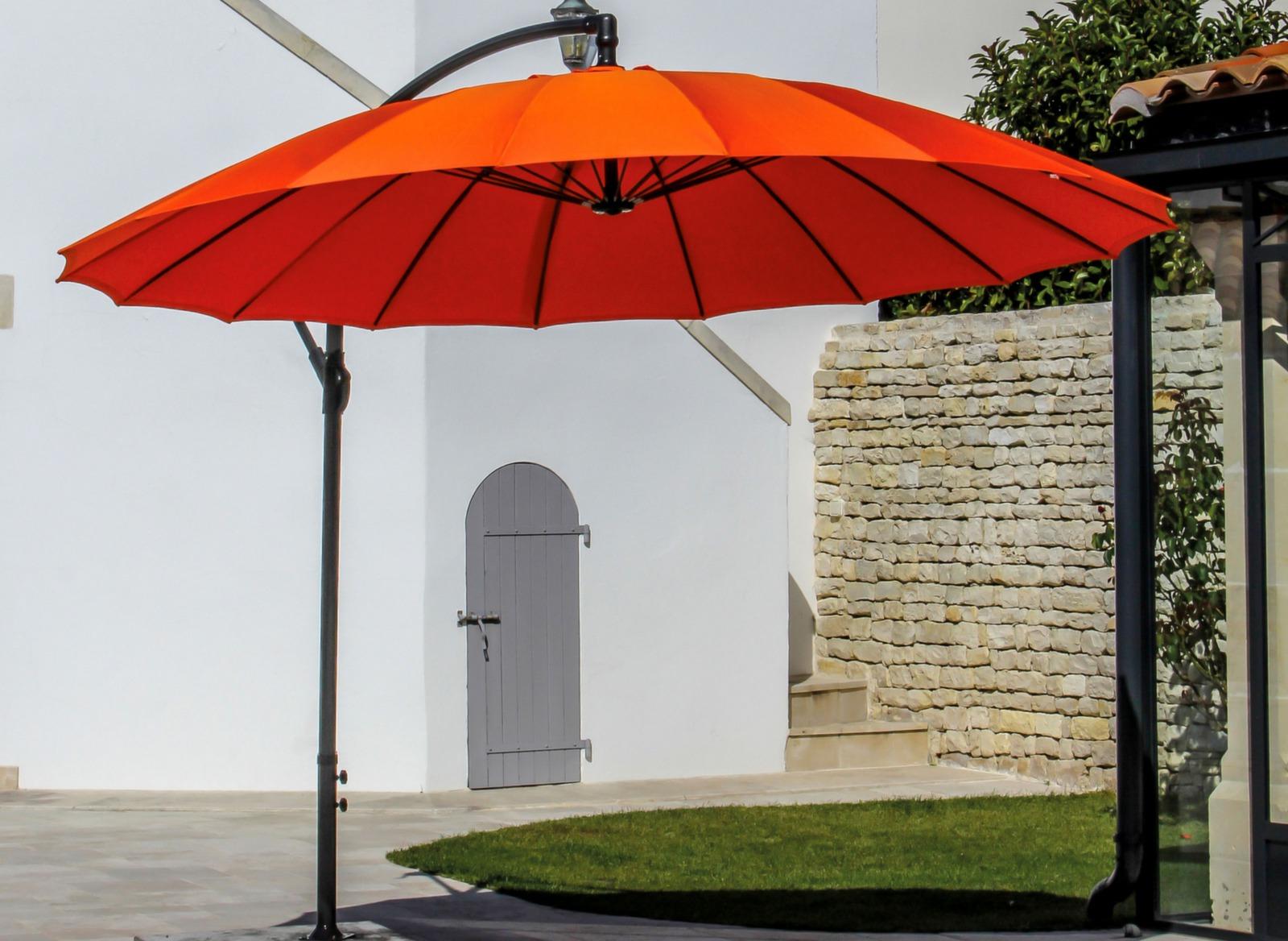 Parasol dport orange rond Pagode 3m  Proloisirs