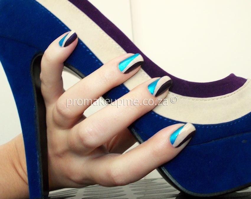 Blue Purple Cream Colour Blocking Nail Art