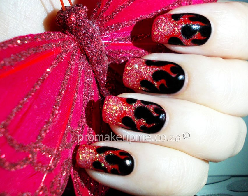 Hell Fire Flames Nail Art