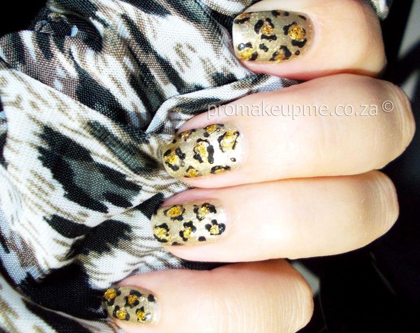 Gold Leopard Print Nail Art