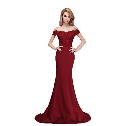 728e4a5142 Honey Qiao Burgundy Off The Shoulder Mermaid Bridesmaid Dresses Long Prom  Party Gowns