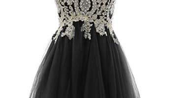 cc66ab07df HEIMO Gold Lace Beaded Homecoming Dresses Short Sequined Appliques Cocktail  Prom Gowns H130