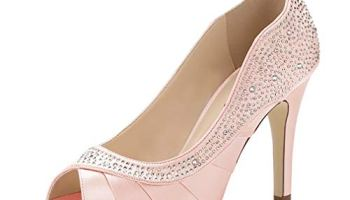 d4d0c153797 ERIJUNOR Women Peep Toe High Heels Comfortable Fashion Rhinestones Satin  Evening Prom Wedding Sandal Shoes