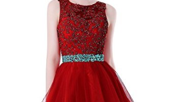 d31d4fa25476 HEIMO Women's Beaded Lace Homecoming Dresses Short Sequins Appliques Prom  Gowns H108