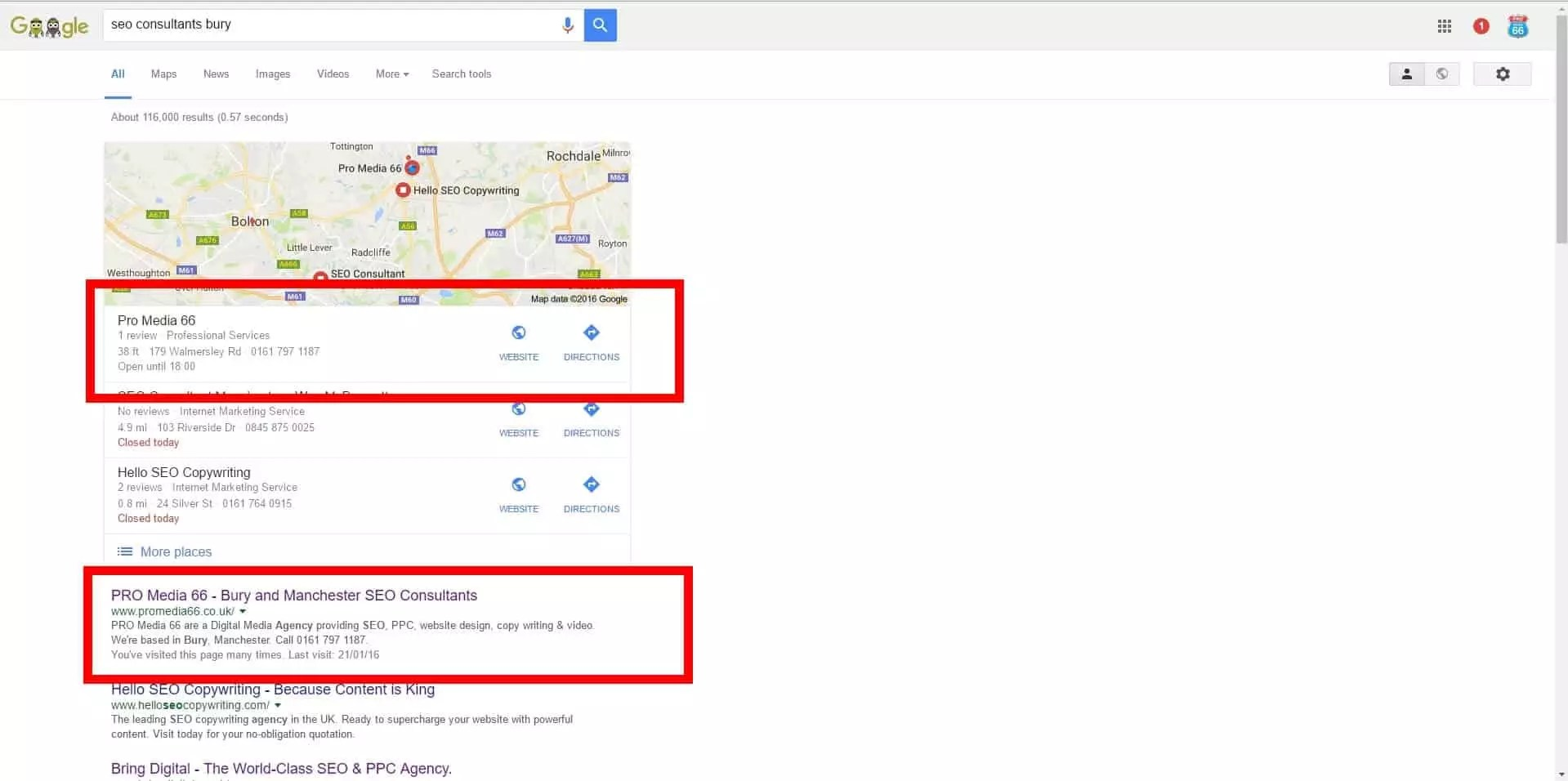 No.1 On Google Local And No. 1 In The Natural Search Results.