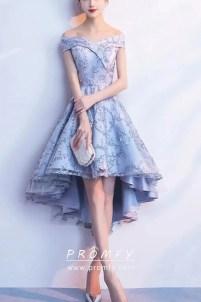 Off-shoulder Light Blue Lace & Satin Cocktail Dress - Promfy