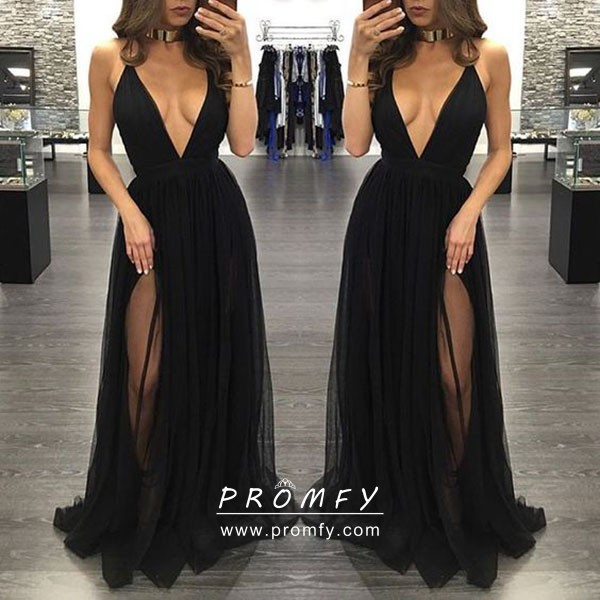 Sexy Black Tulle Plunging Neck High Slit Prom Dress Promfy
